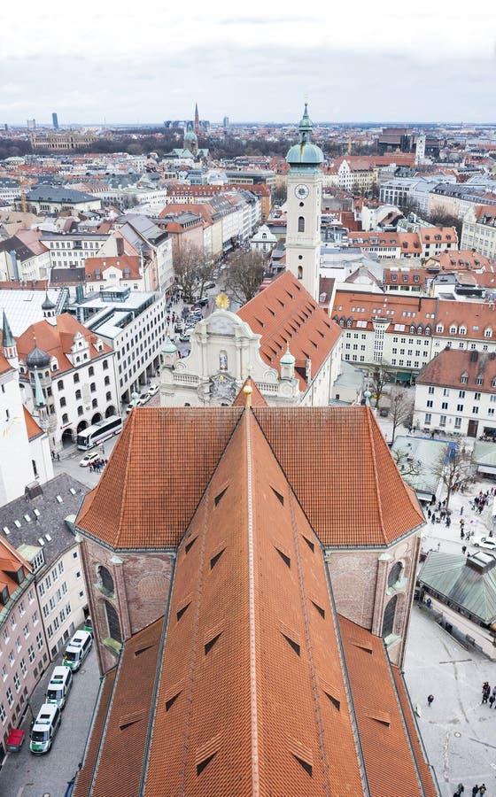 Vista del centro urbano di Monaco di Baviera Munchen, Germania immagine stock libera da diritti