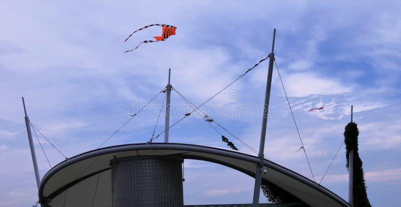Vista del cielo e costruzioni e aquiloni fotografia stock