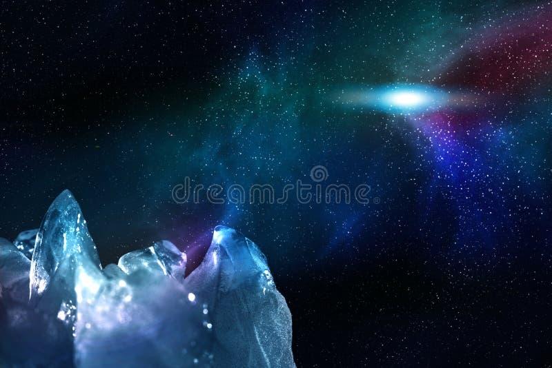 Vista del cielo stellato di notte con l'aurora boreale e una stella luminosa brillante attraverso i picchi ghiacciati, illustrazi immagine stock libera da diritti