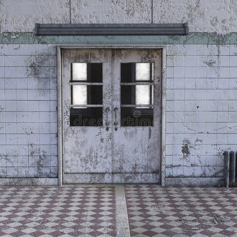 Vista del corridoio in un ospedale psichiatrico con le pareti misere illustrazione vettoriale