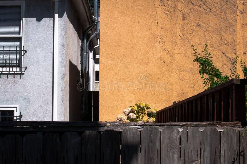 Vista del cortile con verticale e le linee orizzontali immagini stock libere da diritti