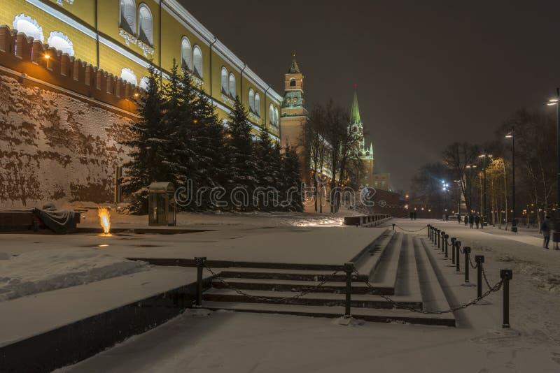 Vista del Cremlino di Mosca della parete di Cremlino e della fiamma eterna nell'inverno fotografie stock libere da diritti