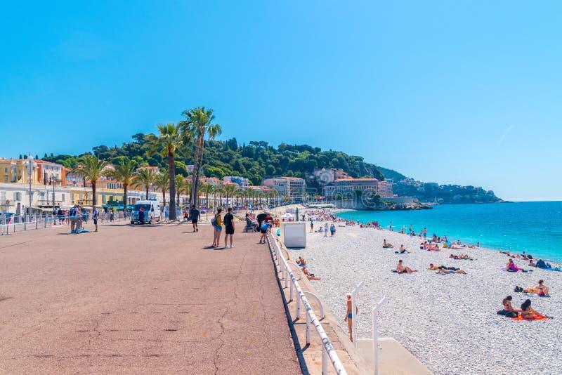 Vista del DES Anglais della passeggiata e della linea costiera sul mar Mediterraneo immagini stock libere da diritti