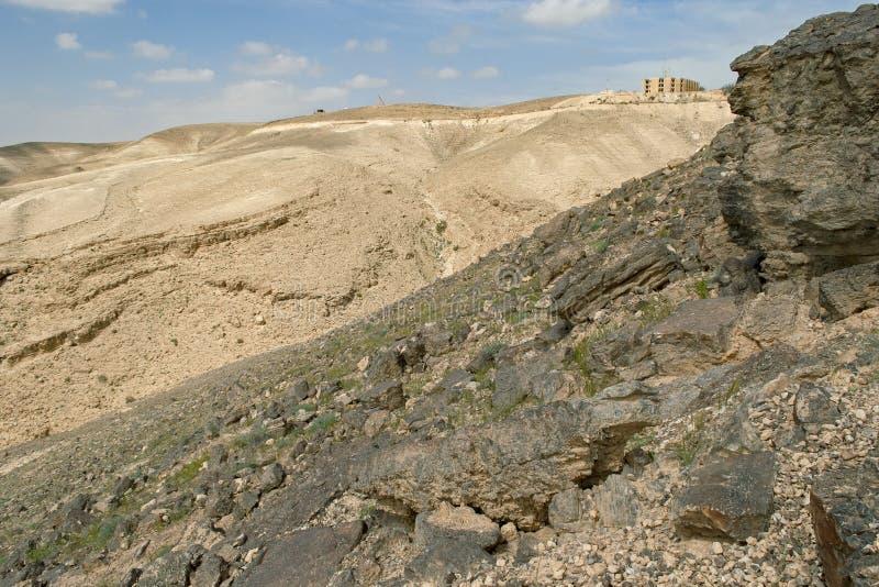 Vista del deserto di Judaean il bordo di Arad in Israele fotografia stock libera da diritti