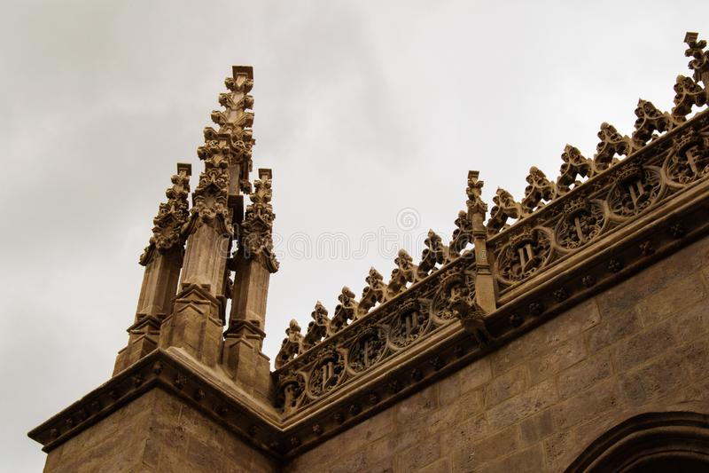 Vista del dettaglio del tetto gotico immagine stock