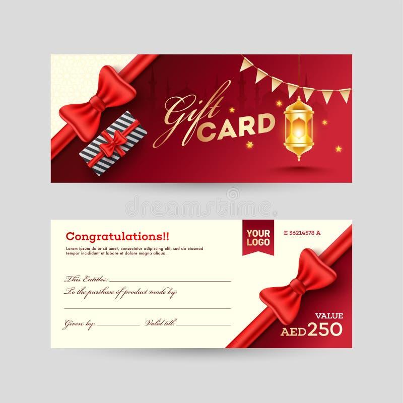 Vista del diseño de tarjeta delantero y trasero de regalo con la caja de regalo stock de ilustración