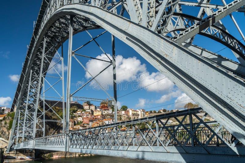 Vista del distrito de Ribeira del puente del luise de los dom foto de archivo libre de regalías