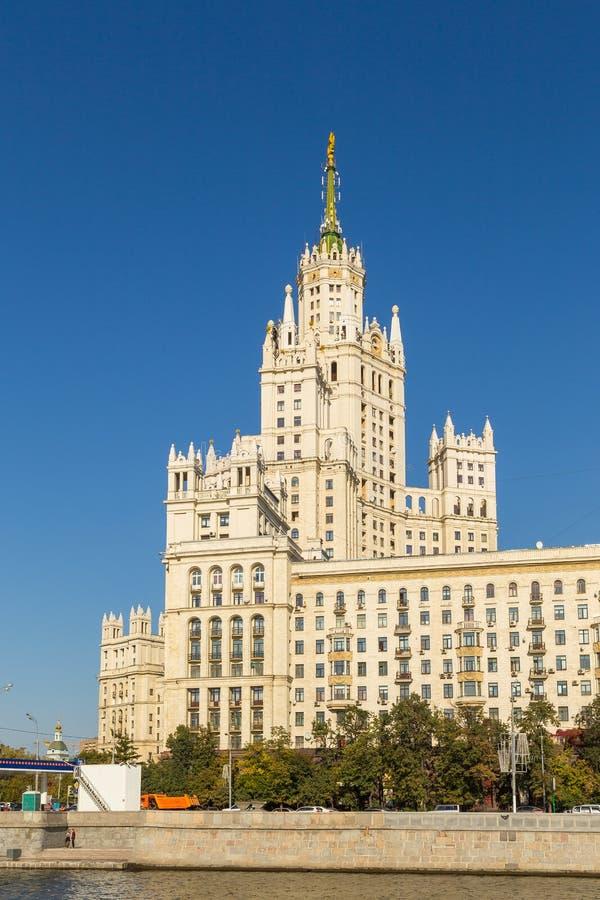 Vista del edificio del terraplén de Kotelnicheskaya, Moscú, Rusia imagen de archivo
