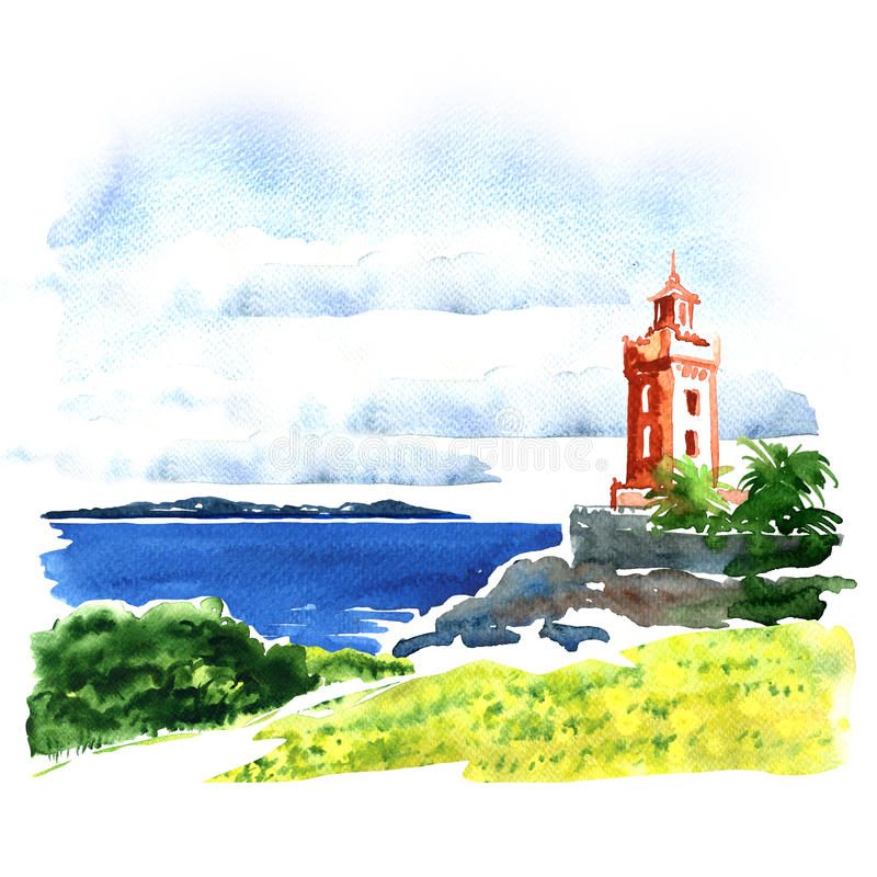 Vista del edificio viejo sobre el mar, paisaje marino hermoso, ejemplo de la acuarela ilustración del vector