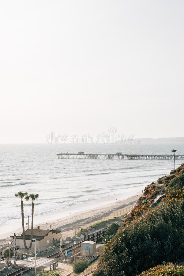 Vista del embarcadero en San Clemente, Condado de Orange, California foto de archivo