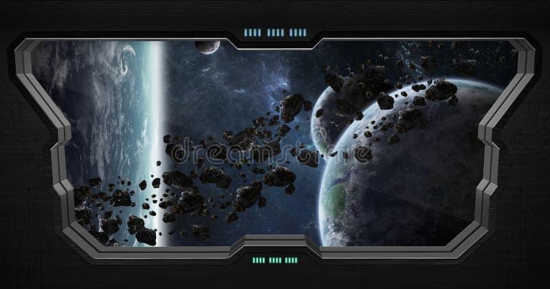 Vista del espacio exterior por dentro de una estación espacial ilustración del vector