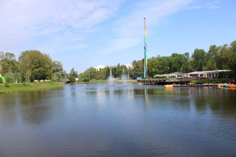 Vista del estanque con fuentes en el parque imagen de archivo libre de regalías