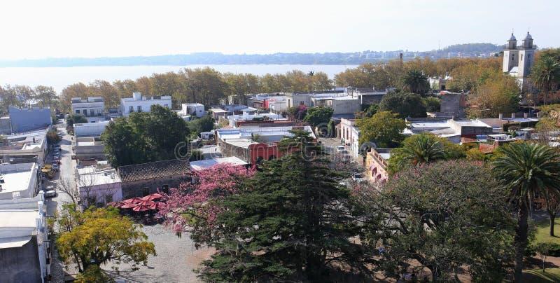 Vista del faro in Colonia Sacramento, Uruguay fotografie stock libere da diritti