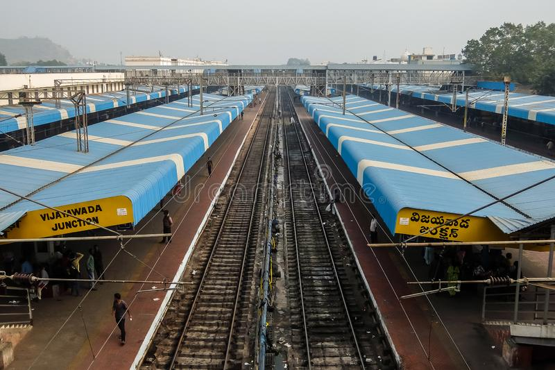 Vista del ferrocarril en Vijayawada, la India fotos de archivo libres de regalías