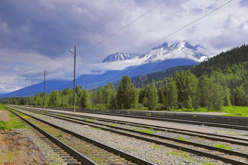 Vista del ferrocarril vacío de Smithers Columbia Británica foto de archivo