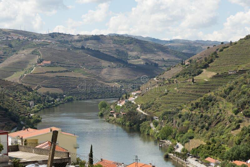 Vista del fiume, delle proprietà e delle vigne del Duero fotografia stock