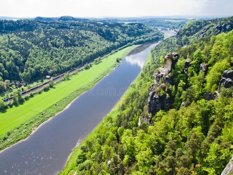 Vista del fiume elba sassonia germania immagine stock for Piani di casa di roccia del fiume