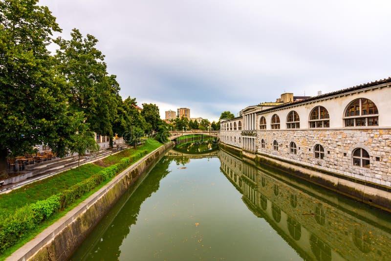 Vista del fiume nella città di Transferrina Fiume nel centro urbano, nella vecchia architettura ed in costruzione storica nella c fotografia stock
