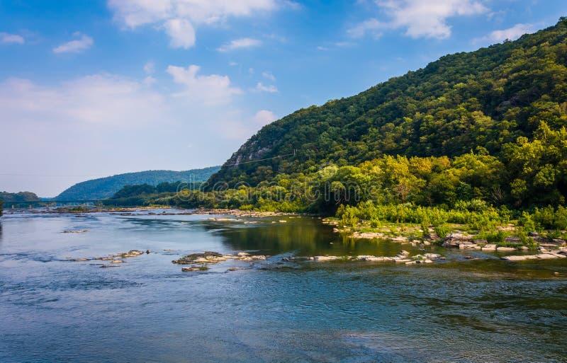 Vista del fiume Potomac, dal traghetto di Harper, Virginia Occidentale fotografia stock libera da diritti
