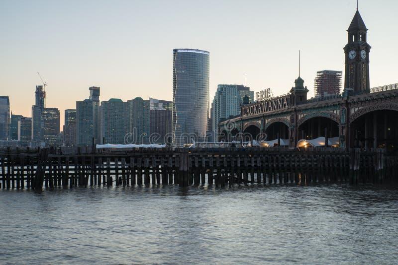 Vista del fiume del terminale di traghetto di Hoboken fotografia stock libera da diritti