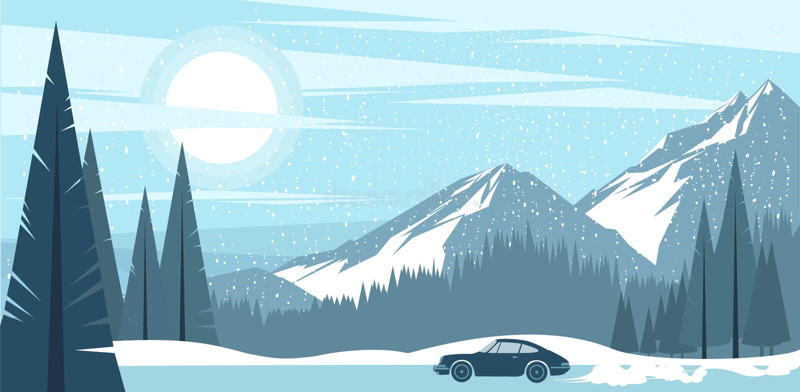 Vista del fondo delle montagne gelide di un inverno illustrazione di stock