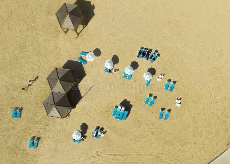 Vista del fuco della capanna della spiaggia immagini stock libere da diritti