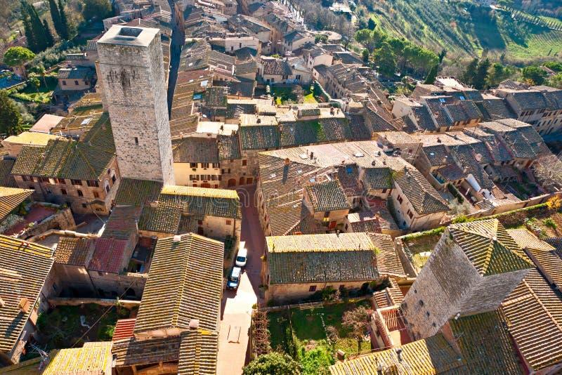 Vista del gimignano del san, Toscana, Italia. fotografia stock