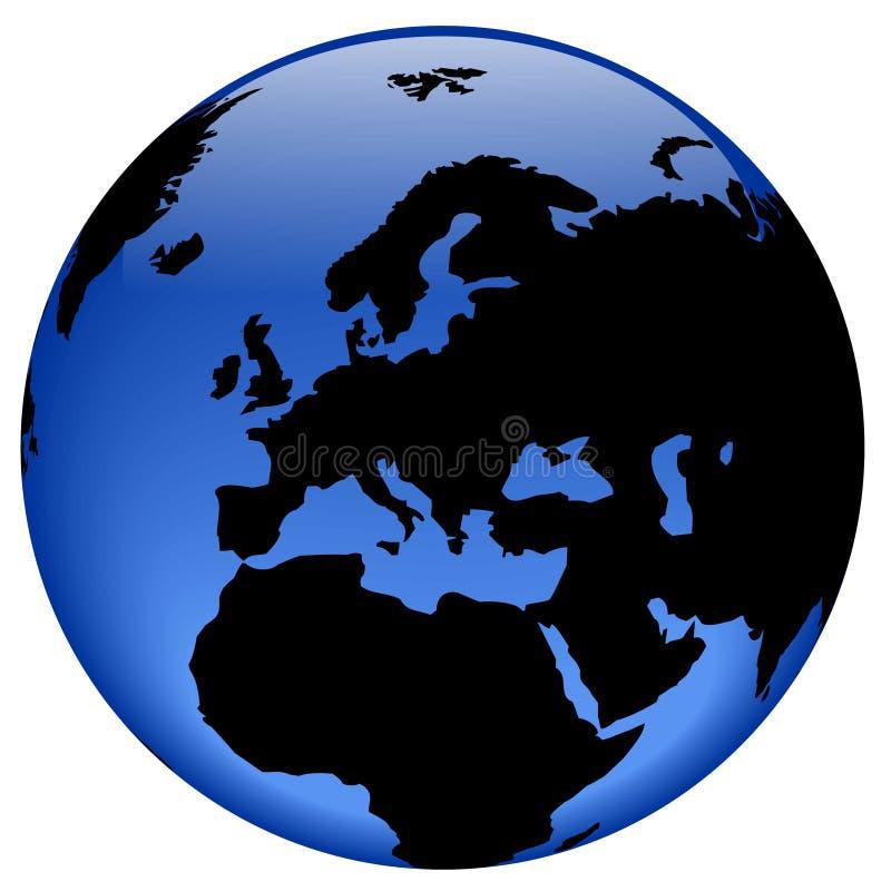 Vista del globo - Europa illustrazione di stock