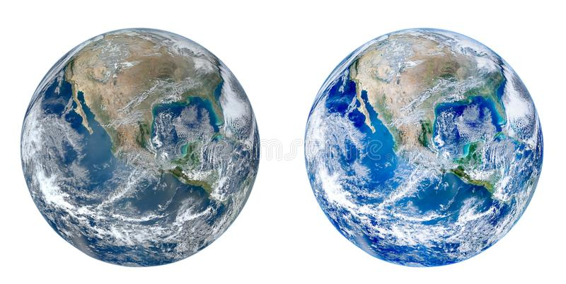 Vista del globo del pianeta Terra da spazio isolato su fondo bianco immagine stock libera da diritti