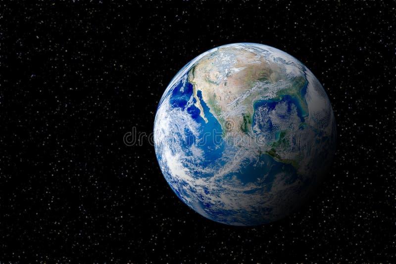 Vista del globo terrestre del planeta azul desde el espacio en el cielo nocturno fotografía de archivo