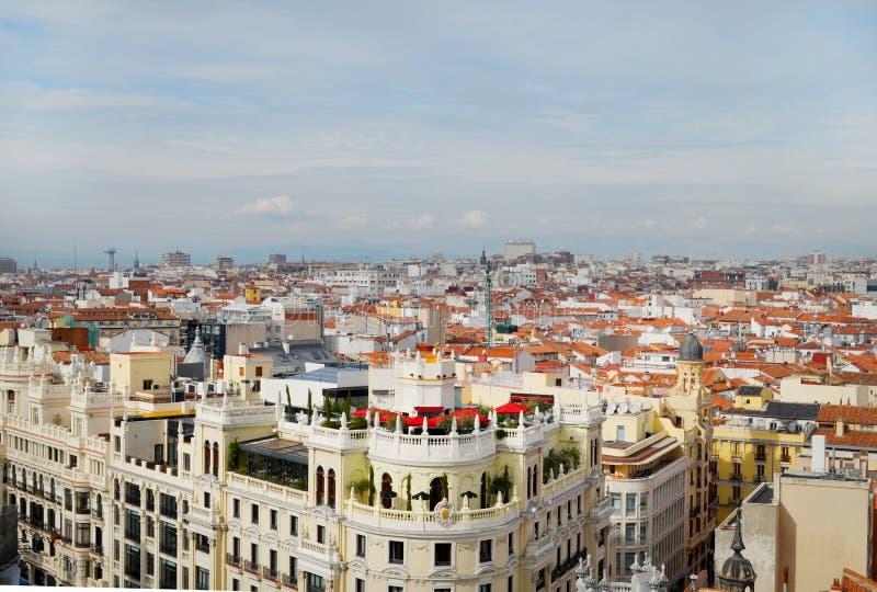 Vista del Gran vía, Madrid España fotografía de archivo