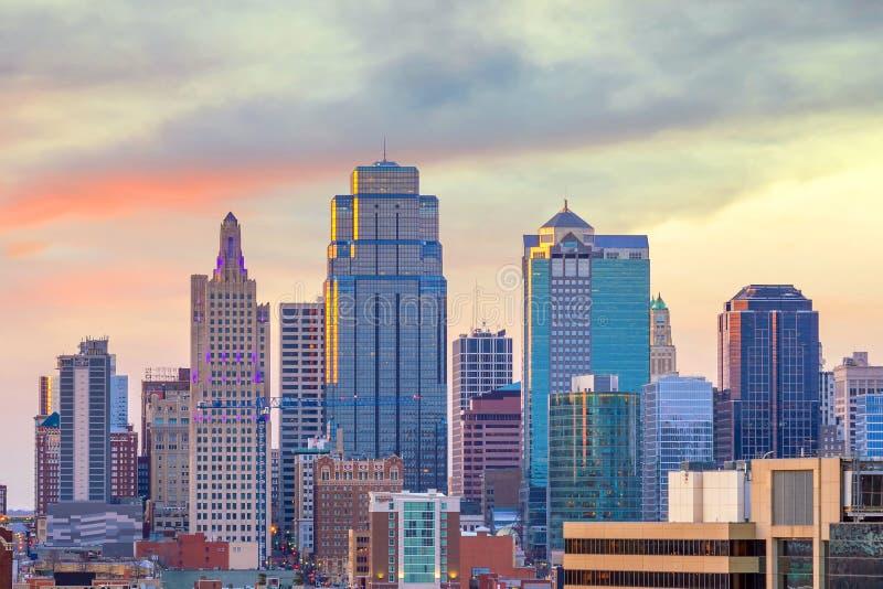 Vista del horizonte de Kansas City en Missouri fotografía de archivo