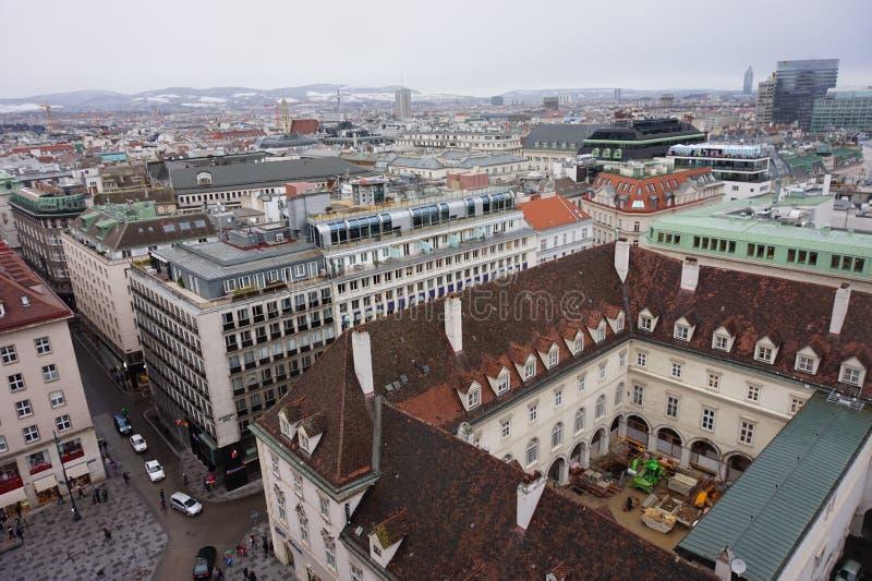 Vista del invierno Viena de la torre de la catedral del St Stephen's Ciudad en una neblina fotos de archivo