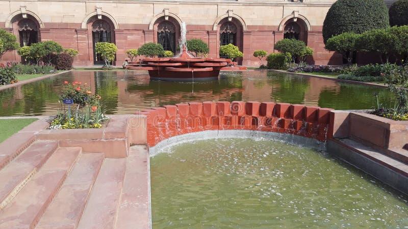 Vista del jardín Nueva Deli de Mughal imágenes de archivo libres de regalías