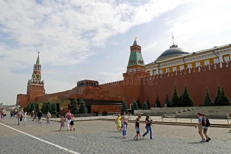 Vista del Kremlin de la Plaza Roja, Moscú, Rusia foto de archivo