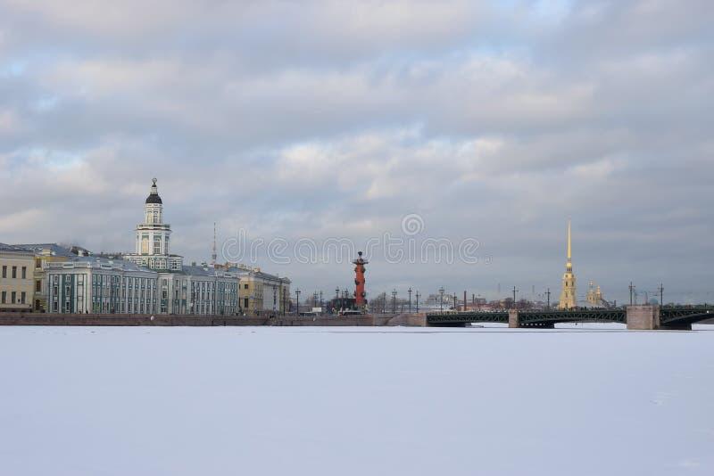 Vista del Kunstkamera, de la columna rostral y del puente del palacio imágenes de archivo libres de regalías