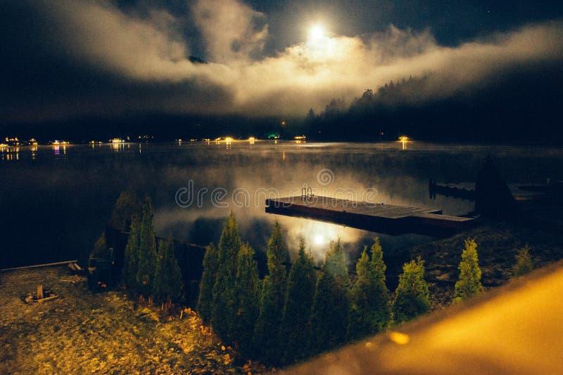 Vista del lago alla notte fotografia stock libera da diritti
