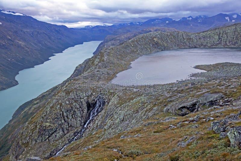 Vista del lago Gjende Sosta nazionale di Jotunheimen norway fotografia stock libera da diritti
