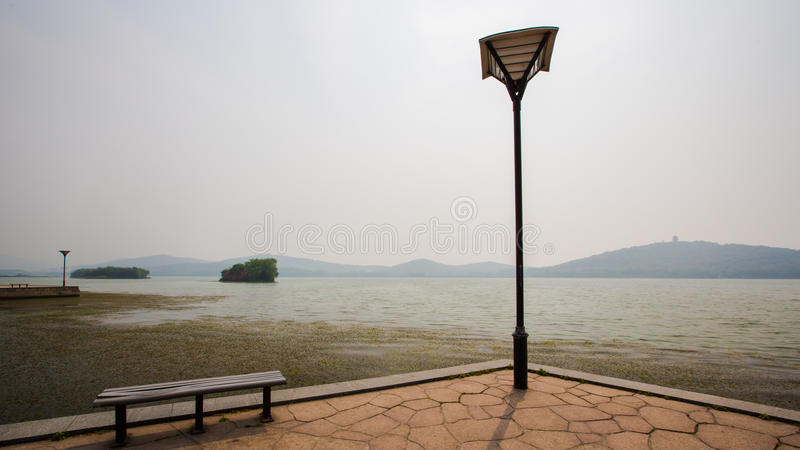 Vista del lago Taihu en Wuxi imágenes de archivo libres de regalías