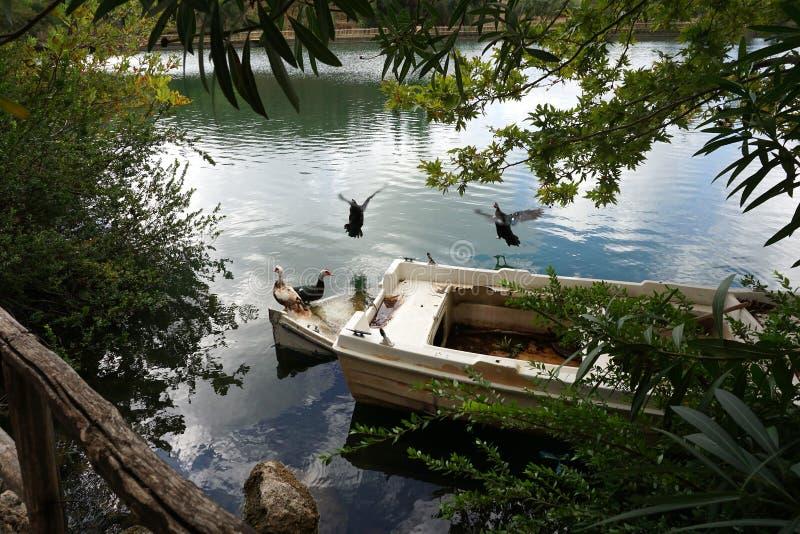 Vista del lago Votomenos, un lago artificial hermoso en Creta fotografía de archivo