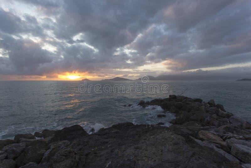 Vista del mar de Tellaro fotos de archivo libres de regalías