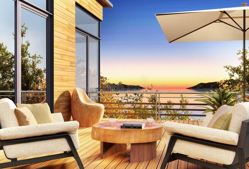 Vista del mare al tramonto dai terrazzi di bella casa illustrazione di stock
