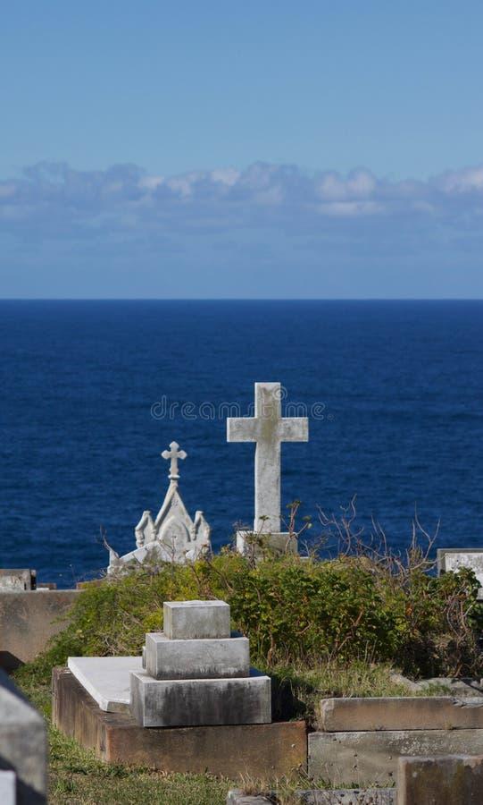 Vista del mare dal cimitero di Waverley in Nuovo Galles del Sud Australia immagine stock