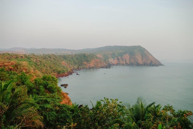 Vista del mare dalla fortificazione di Cabo de Rama, vicino alla spiaggia di Agonda, stato di Goa, I fotografia stock libera da diritti