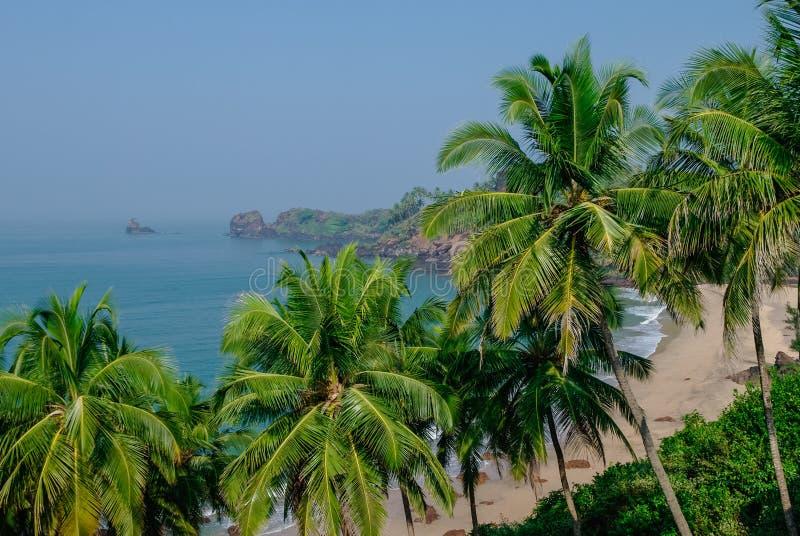 Vista del mare dalla spiaggia nascosta con le palme vicino alla spiaggia di Agonda, sta di Goa fotografie stock