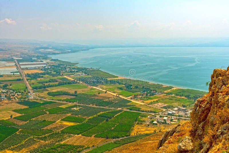 Vista del mare della Galilea da sopra immagine stock libera da diritti