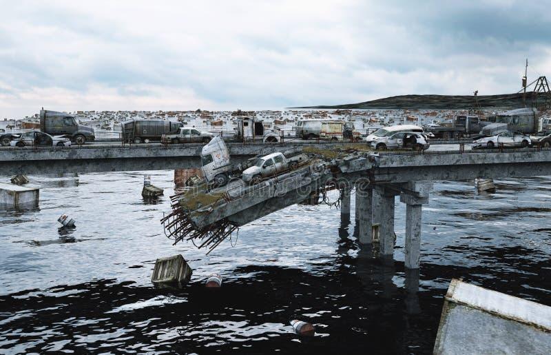 Vista del mare di apocalisse Ponticello distrusso Concetto di Armageddon rappresentazione 3d fotografie stock
