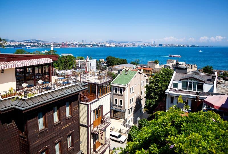 Vista del mare di Costantinopoli Marmara dall'hotel fotografia stock