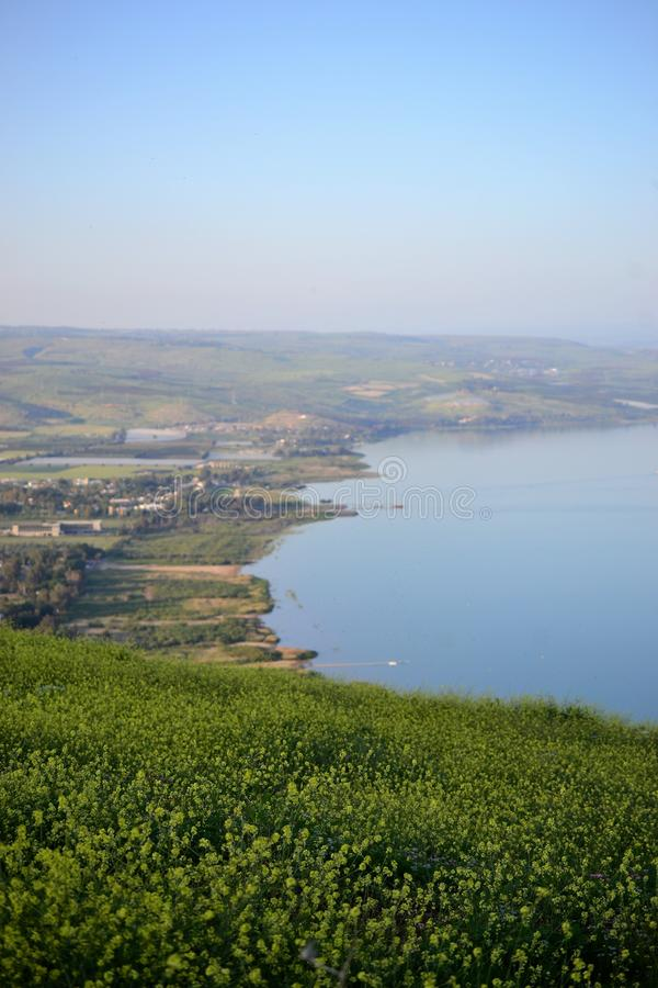 Vista del mare del lago galilee Kinneret dal Mt Montagna di Arbel, bello paesaggio del lago, Israele, Tiberiade immagine stock libera da diritti