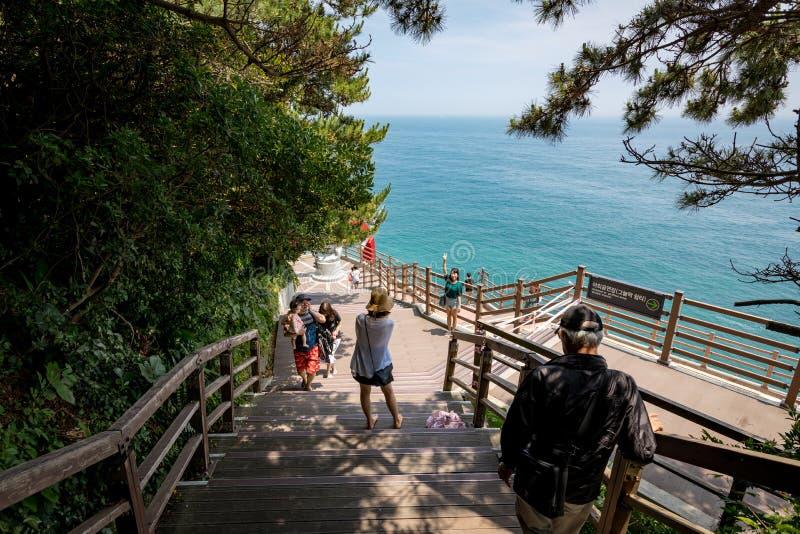Vista del mare veduta dal modo a Taejongdae, Busan immagini stock libere da diritti